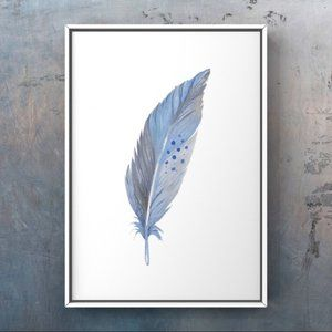 Blue Grey watercolor feather abstract art print